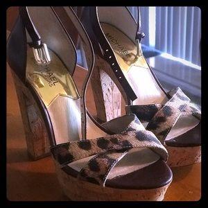 Michael Kors Leapord Print Cork Heels